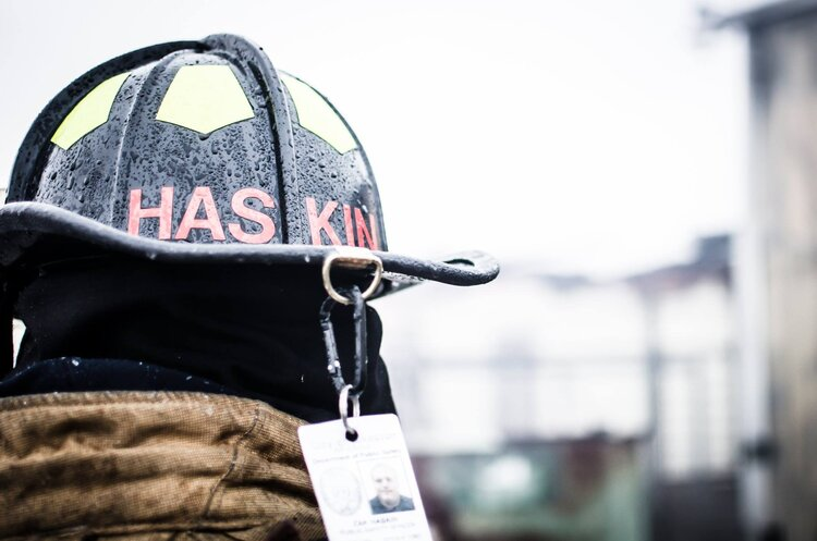 Image of a a fire fighter helmet