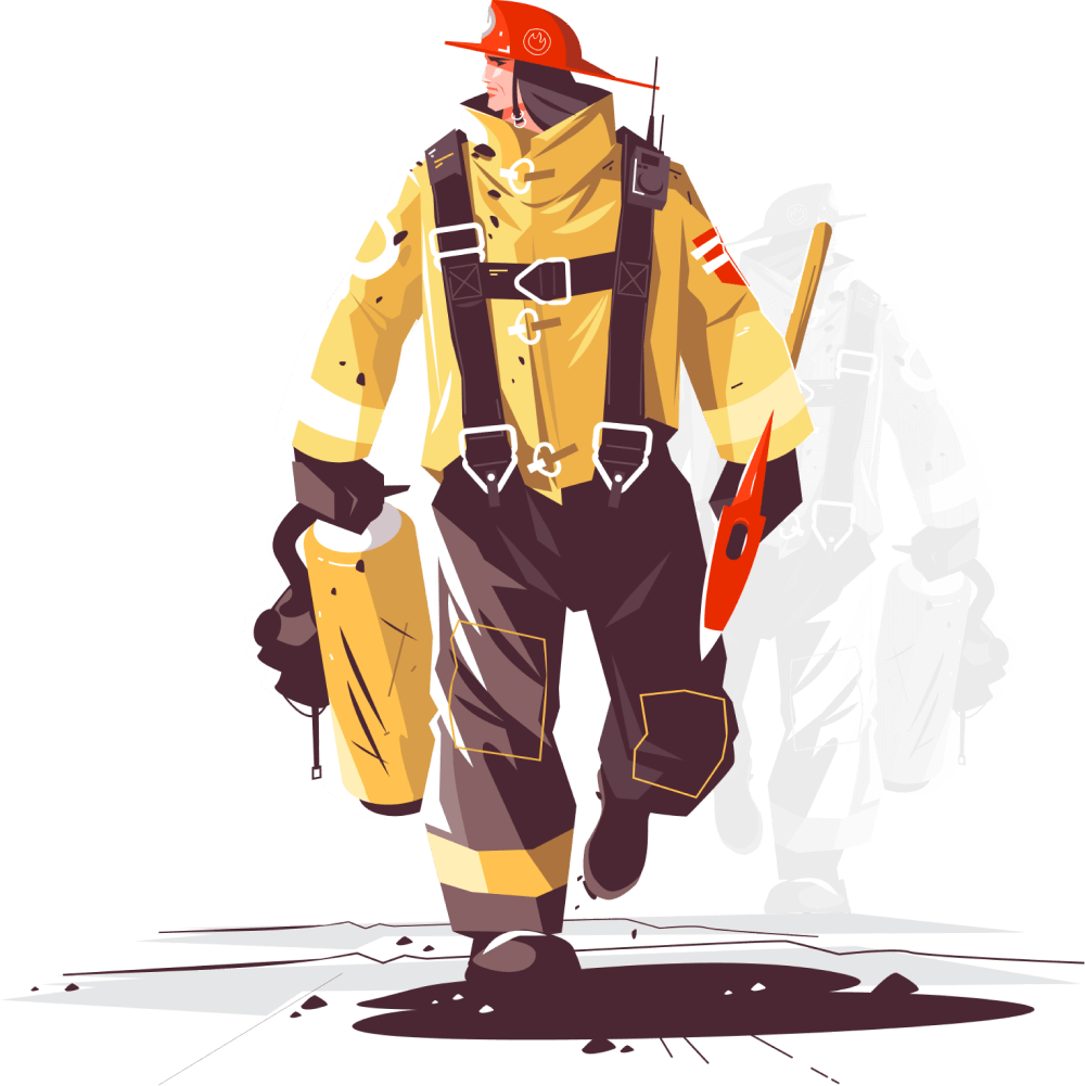 The image of a fireman